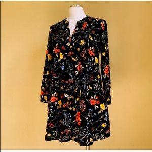 Floral mini black dress